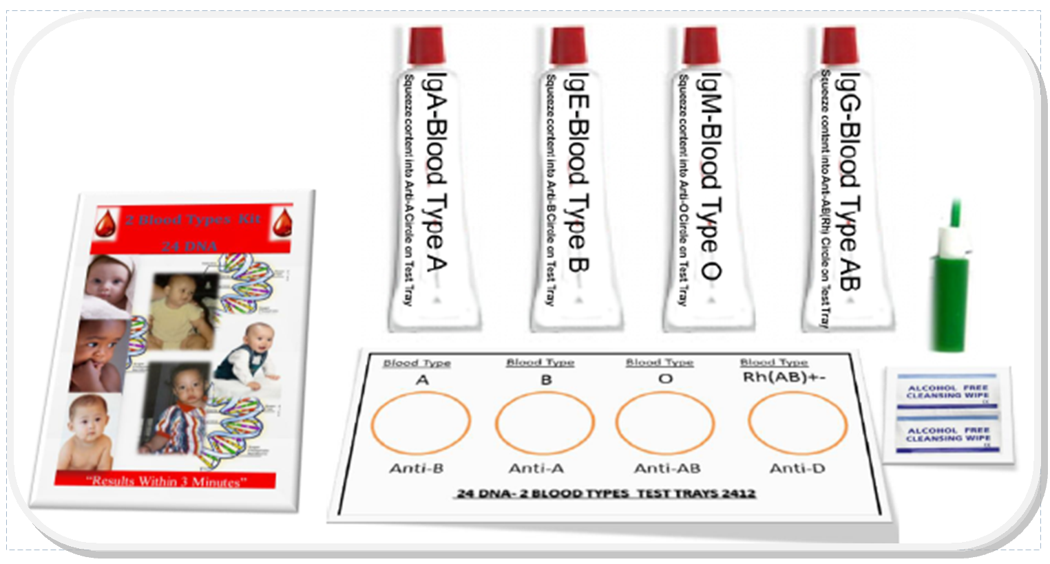 """The """"24 DNA-2 Blood Types Kit"""" - Results Within 3 Minutes"""